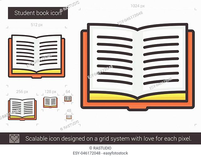 Student book vector line icon isolated on white background. Student book line icon for infographic, website or app. Scalable icon designed on a grid system