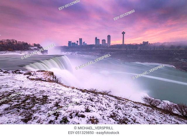 Long exposure of Niagara Falls from the New York side in winter
