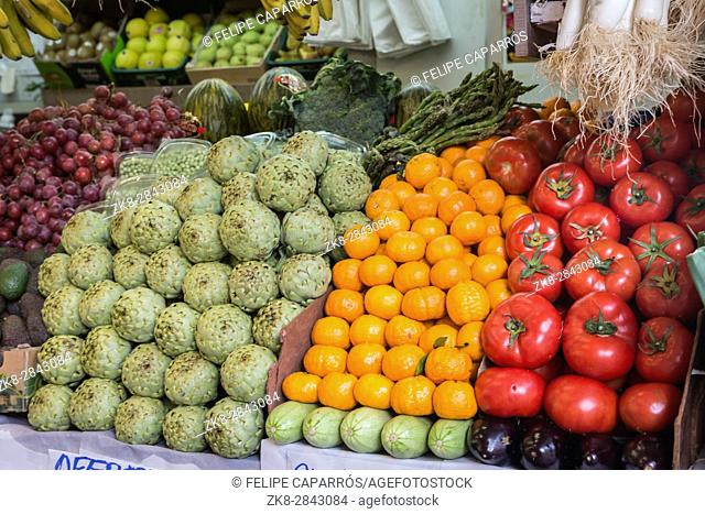 Farmers' food market stall with variety of organic vegetable, Cadiz, Spain