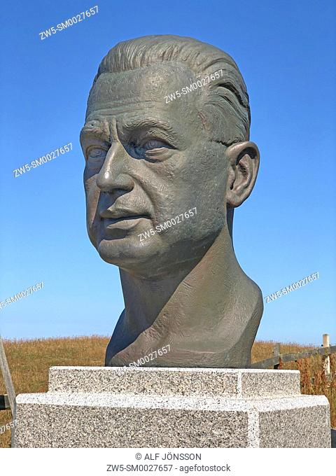Dag Hammarskjold (1905-1961). Swedish diplomat. 2nd Secretary-General of the United Nations, 1953-1961. Bust at his summer residence Backåkra in Ystads...