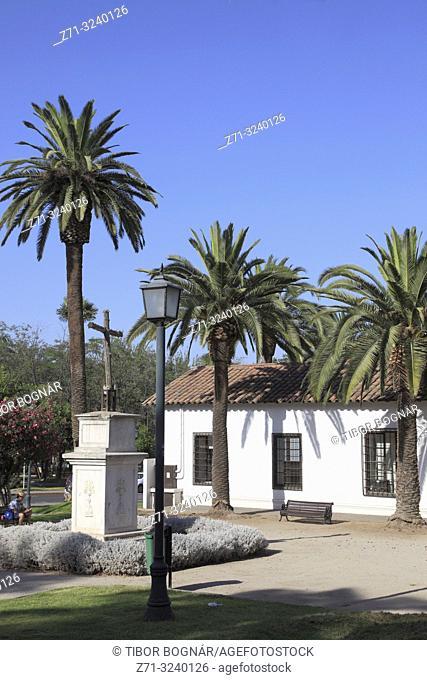 Chile, Santiago, Las Condes, park, palms, traditional architecture,