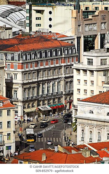 View of the street leading to the Praca dos Restaurdores from the terraces of the Castel de Sao Jorge Castle of Saint George in Lisbon Lisboa, Portugal