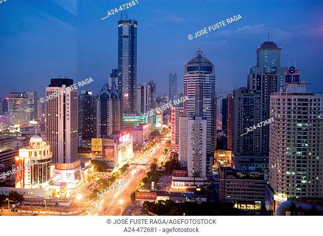 Shennan Zhong Lu avenue, Shenzhen. Guangdong province, China
