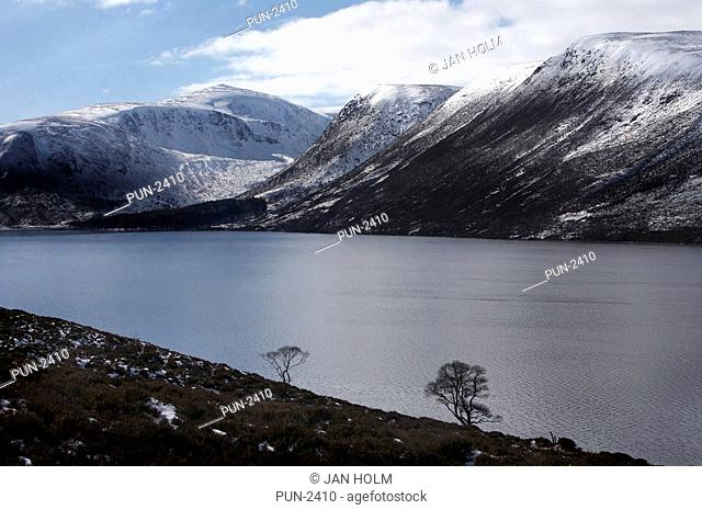 Landscape of Loch Muick and mountains at Balmoral Estate, Scotland