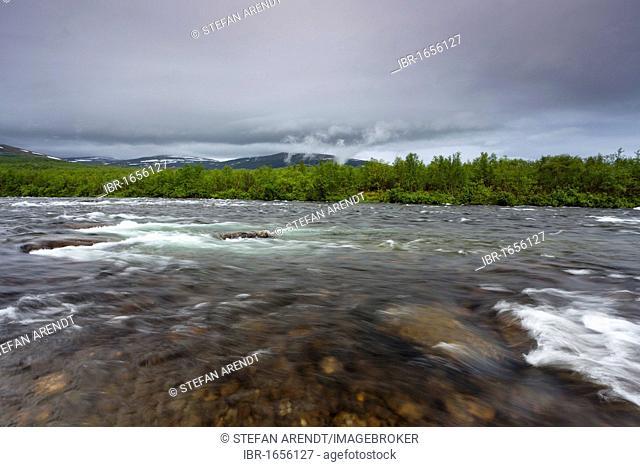 Broad river in Abisko National Park, Kungsleden, The King's Trail, Lapland, Sweden, Europe
