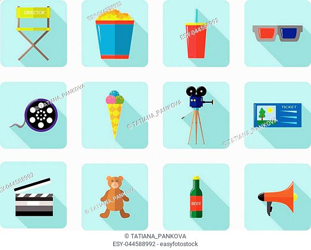 A set of vector color icons for cinema and movies