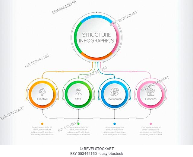 Infographics template with a four structure elements of business organization. Retro-futuristic circle template with options. Vector illustration