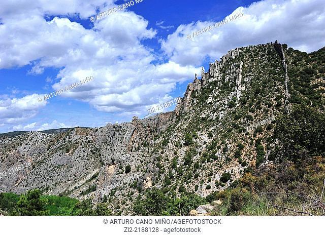 Limestone mountain in El Maestrazgo. Valley of River Pitarque, Villarluengo, Teruel, Spain