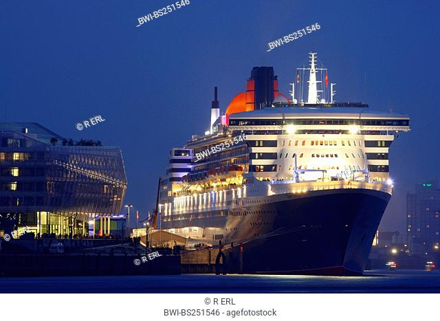 Cruise Ship Queen Mary 2 at Cruise Center in Port of Hamburg, Germany, Hamburg