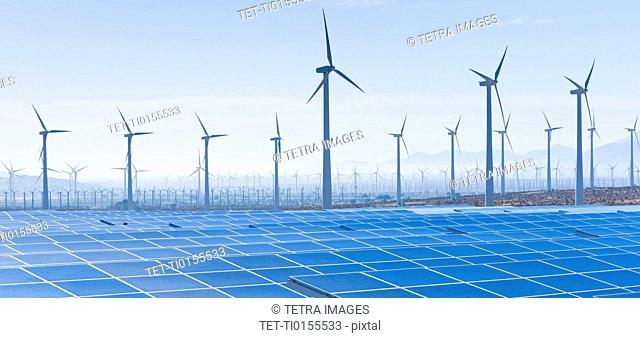 USA, California, Palm Springs, Wind farm and solar panels