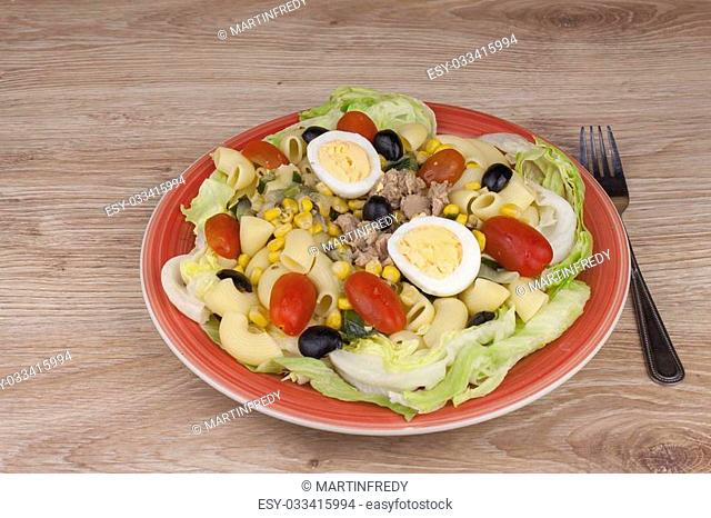 Refreshing summer dish, pasta with tuna, vegetables, olives and egg. Healthy food for athletes
