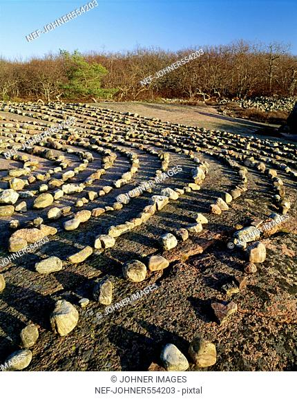 Stones arranged in rows, elevated view