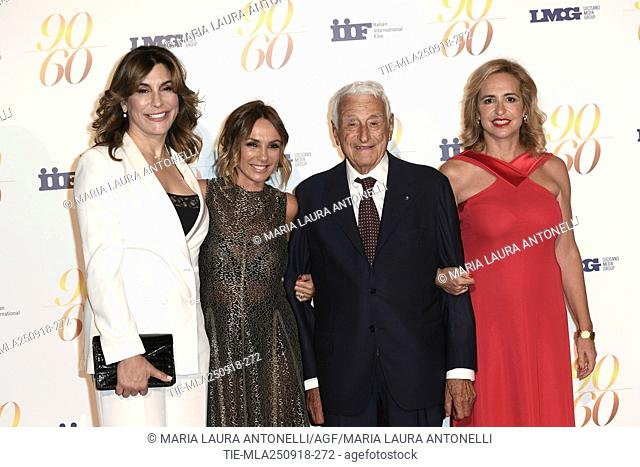 Jo Champa, Fulvio Lucisano with daughters Paola and Federica during red carpet of 60/90 party, for 60 years of career and ninetieth birthday of Fulvio Lucisano