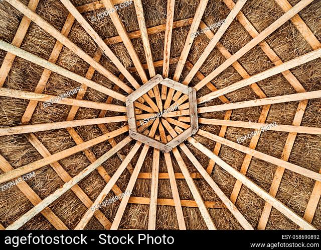 Hexagonal wood frame and thatched roof