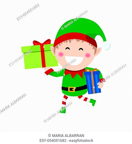 Christmas goblin. Little elf with presents. Flat vector illustration