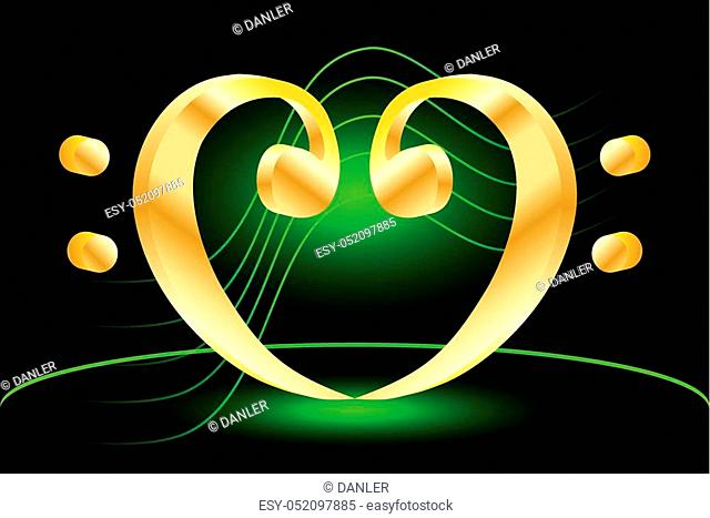 Heart - bass clef, Music note stave and heart bass clef