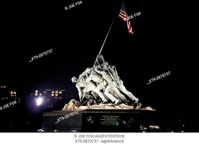the united states marine corps iwo jima memorial statue at night Washington DC USA