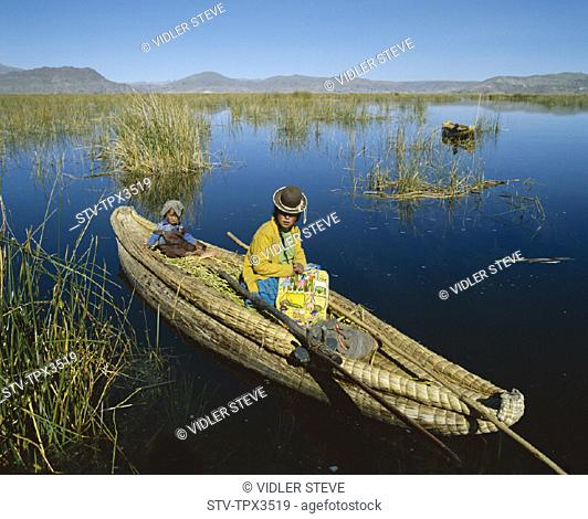 Boat, Child, Holiday, Indian, Lake, Landmark, Model, Peru, South America, Reed, Released, Titicaca, Tourism, Travel, Uros, Vacat