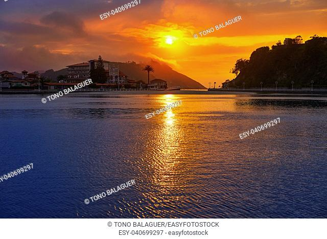 Ribadesella sunset in Asturias of Spain