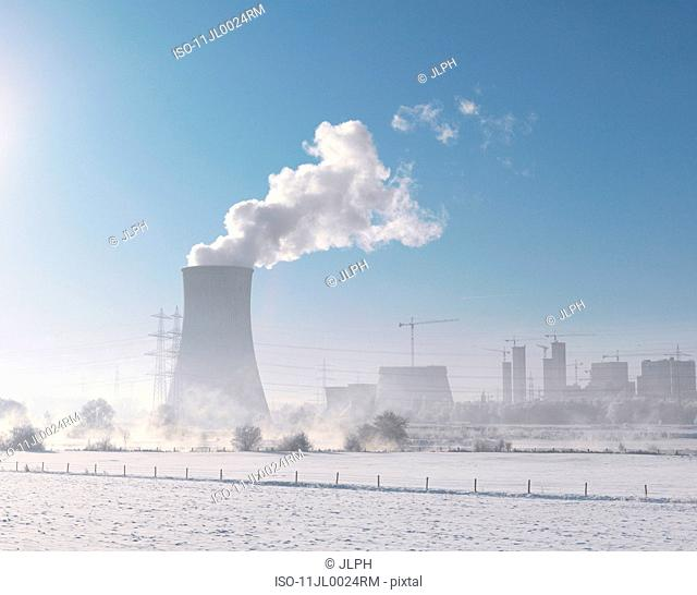 Coal-fired power plant in winter