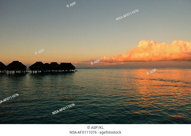 Panoramic view of the sea, Moorea, Tahiti, French Polynesia, South Pacific