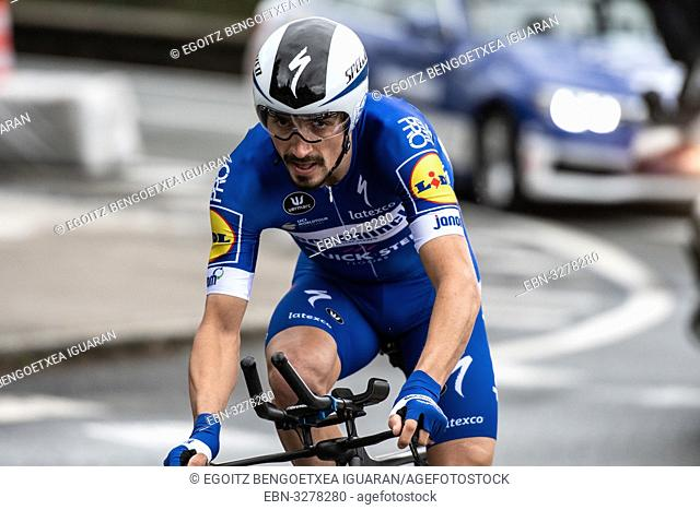 Julian Alaphilippe at Zumarraga, at the first stage of Itzulia, Basque Country Tour. Cycling Time Trial race