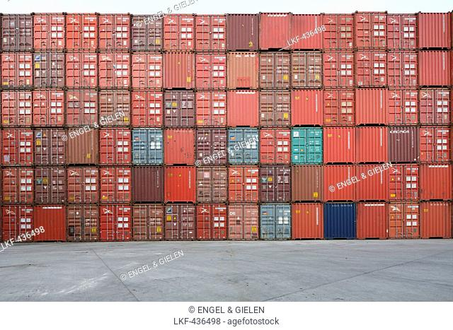 View of stacking containers in the Port of Hamburg, Hamburg, Germany