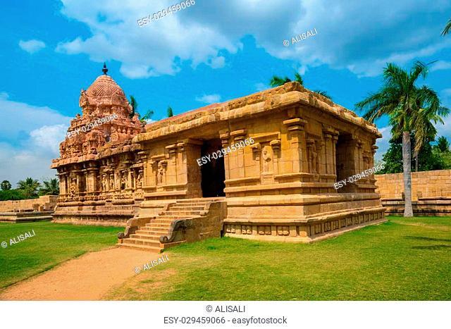 Great architecture of Hindu Temple dedicated to Shiva, ancient Gangaikonda Cholapuram Temple, India, Tamil Nadu, Thanjavur (Trichy)