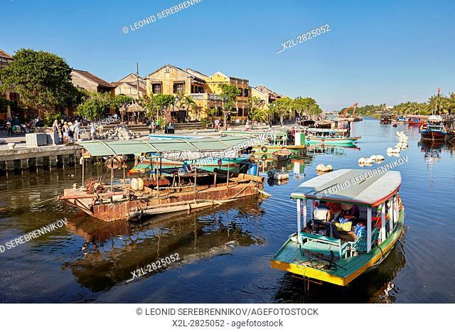 Boats on the Thu Bon River. Hoi An, Quang Nam Province, Vietnam