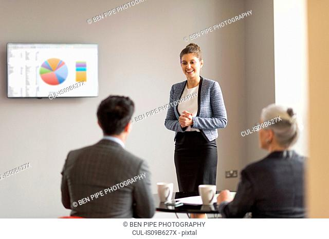 Young businesswoman doing office presentation