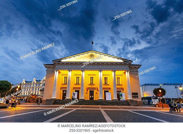 Vilnius Town Hall in the square of the same name in the Old Town of Vilnius. The current Vilnius Town Hall was rebuilt in neoclassical style according to the...