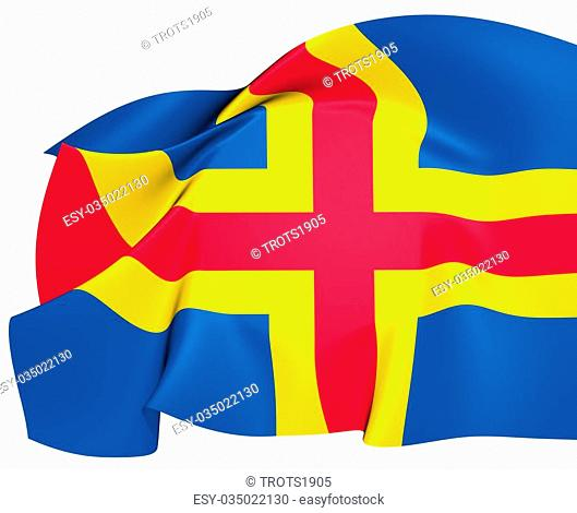 Flag of Aland Islands, Finland. Close Up