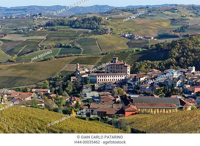 Italy, panorama of vineyards of Piedmont Langhe-Roero and Monferrato on the World Heritage List UNESCO. View of Barolo Italy, Piedmont, Vineyards