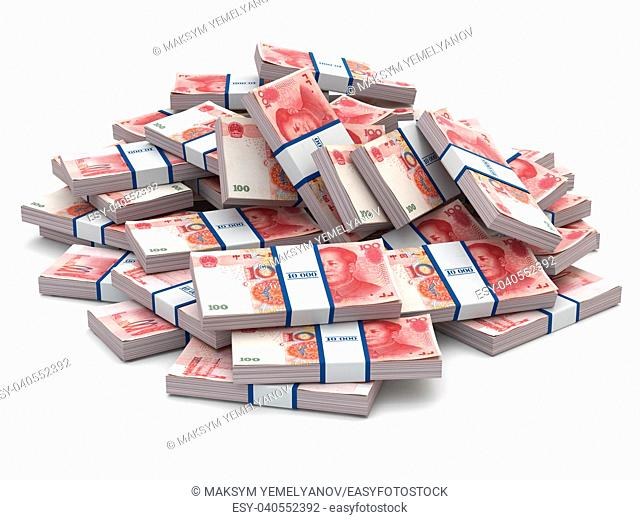 Pile of packs of yuan. Lots of cash money. 3d