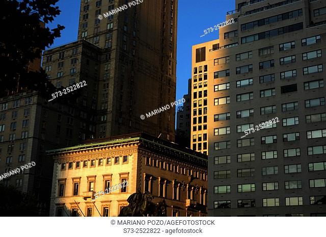 Manhattan building detail in sunset, New York, USA