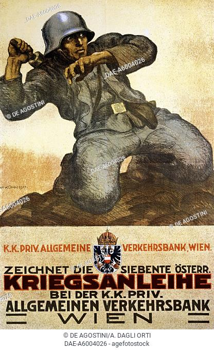 Poster to promote the Austrian national loan in aid of the armed forces. First World War, Austria, 20th century.  Rovereto