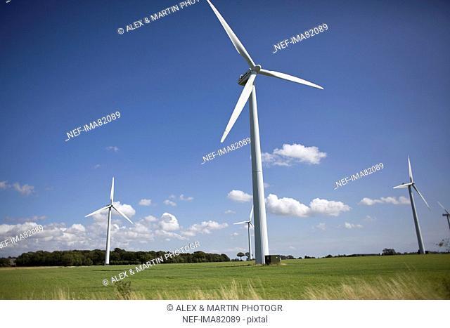 Wind turbines in farm