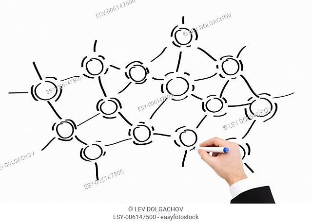research, education, science and chemistry concept - close up of businessman drawing molecules