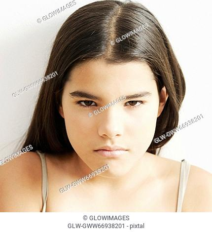 Portrait of a girl looking serious