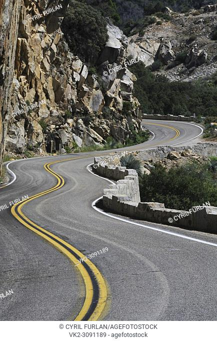 Winding mountain road that is the route thru Kings Canyon California, in the Sierra Nevada Mts