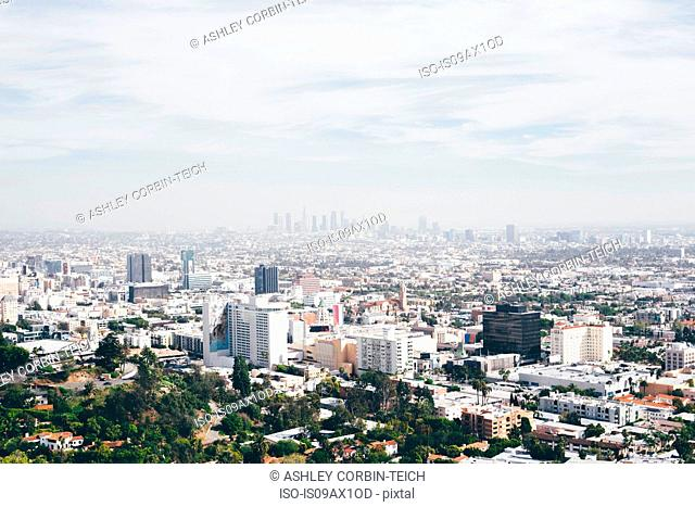 Elevated view of cityscape with smoggy distant skyline, Los Angeles, California, USA