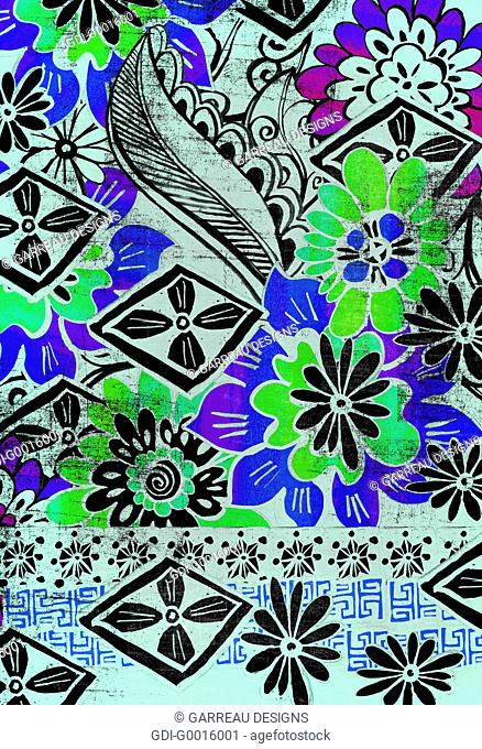 Green and blue tropical flower design