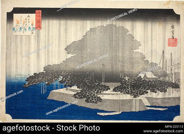 "Night Rain at Karasaki (Karasaki no yau), from the series """"Eight Views of Omi (Omi hakkei no uchi)"""" - c. 1834 - Utagawa Hiroshige, Japanese"