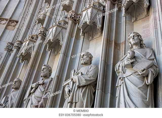 Exterior details from the Cathedral of the Holy Cross and Saint Eulalia, located in Barcelona, Spain