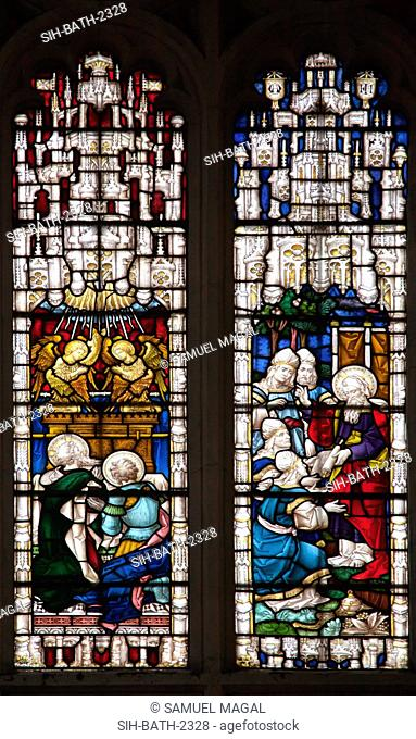 A stained glass window, depicting scenes from the first five books of the Old Testament. It was built by Clayton and Bell, and called Pentateuch Window