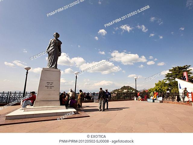 Tourists near the statue of Indira Gandhi (former prime minister of India), Shimla, Himachal Pradesh, India