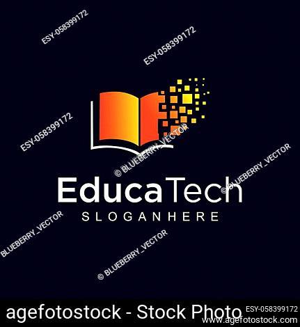 Book Digital Tech Logo design vector stock. Education tech logo design Icon Mosaic Pixel