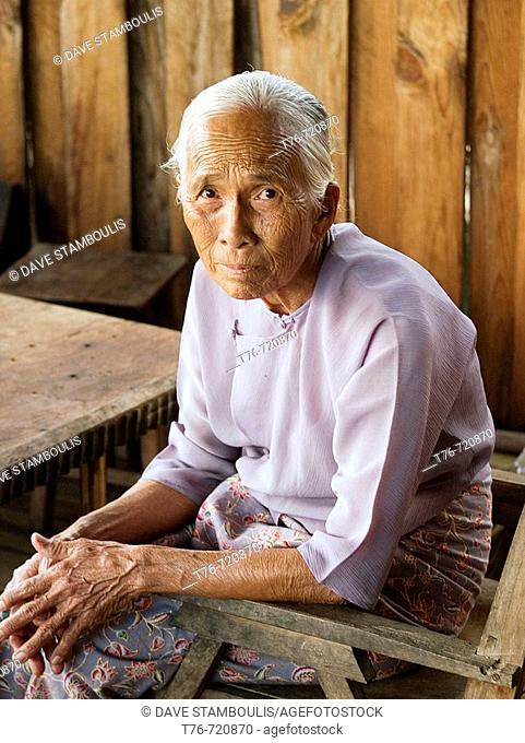 Old Burmese woman posing