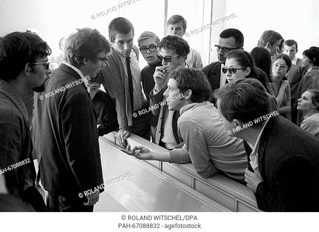 Discussing visitors of the lawsuit against student leader Daniel Cohn-Bendit (not in picture). He had to face the charge of civil disorder on 27 September 1968...