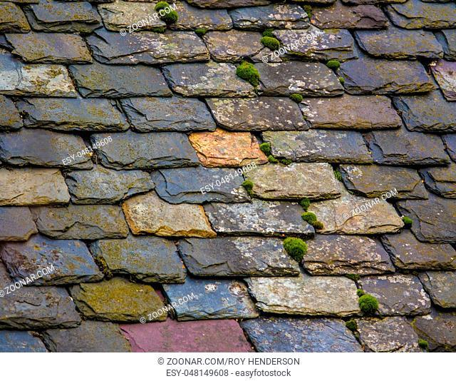 Vintage Slate Tile Roof On An Old House